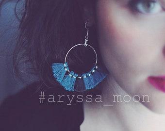Turquoise blue tassels Bohemian Silver earrings