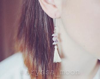 Tassels earrings semi precious stones gems Bohemian