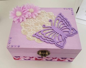 """The flight of the Butterfly"" jewelry box with mirror inside"