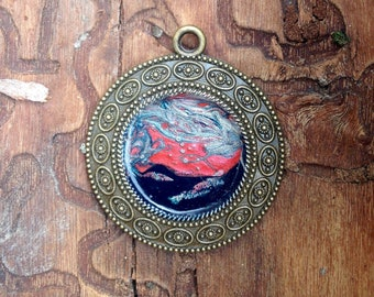 Original necklace pendant painting tanned