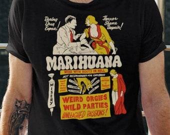 Vintage Anti-Marijuana Poster Unisex T-Shirt   Retro Drug Propaganda Exploitation Movie Poster Tee