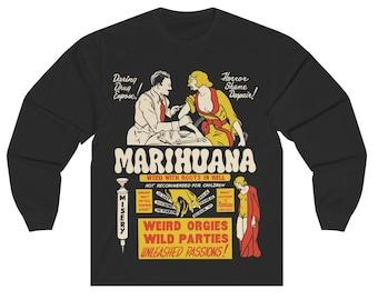 Vintage Anti-Marijuana Poster Unisex Long Sleeve Crewneck Tee   Retro Drug Propaganda Exploitation Movie Poster T-Shirt