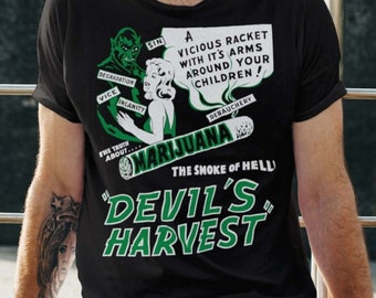 Devil's Harvest Vintage Anti-Marijuana Poster Unisex T-Shirt   Retro Drug Propaganda Exploitation Movie Poster Tee