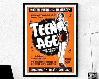 "Vintage Anti-Marijuana Poster Art   ""Teen Age"" Retro Cannabis Propaganda Poster   Digital Print Download  "
