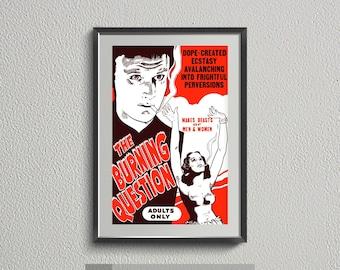 "Vintage Anti-Marijuana Poster Art   ""The Burning Question"" Retro Cannabis Propaganda Poster   Digital Print Download  "