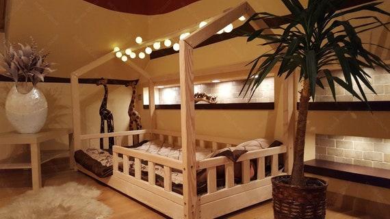 Casa letto con barriere bambini letto casa letto letto per etsy - Barriere letto per bambini ...
