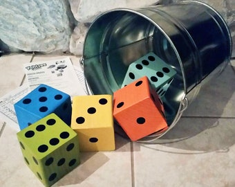 Giant Dice Game with Galvanized Bucket