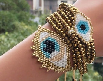 "Gold Miyuki Delica Seed Beads 1 Beaded Evil Eye Charm chs6360 2/"""