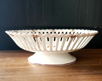 Flat old Malicorne ceramic fruit bowl made by hand