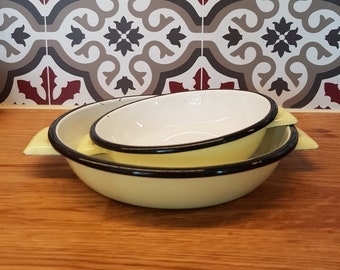 2 plates or dishes vintage yellow enameled metal