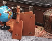 Luggage tag and and passport holder set, leather passport cover personalized for men and women