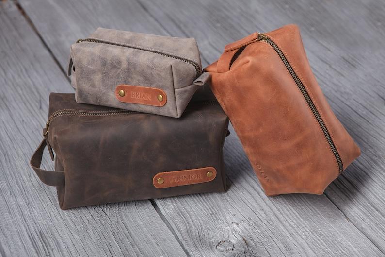 625744c42164 Personalized leather dopp kit, custom mens toiletry bag, monogram groomsmen  gift, 3rd anniversary gift for men, wedding gift