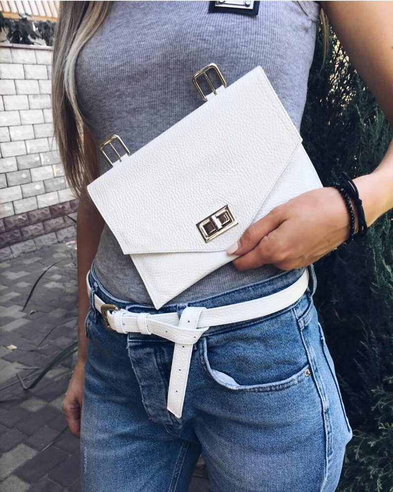 be75f82f7be3 White leather fanny pack for woman, waist bag, fanny pack vintage, bum bag,  leather belt bag woman, leather belt pouch, hip bag, sac banane
