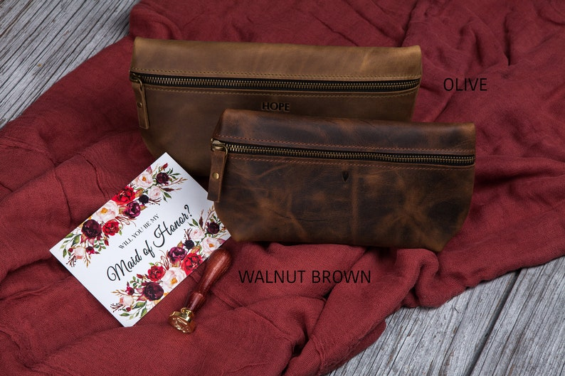 3rd anniversary gift for her small leather pouch