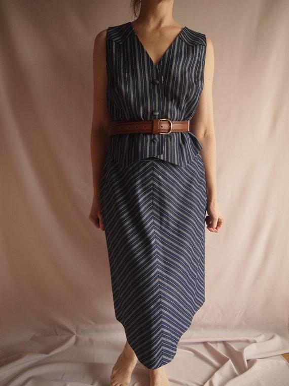 Pinstrip 3-piece suit, vintage, denim, handmade, 7