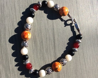 Orange gemstone beaded bracelet