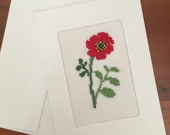 Red poppy cross-stitched greeting card with envelope