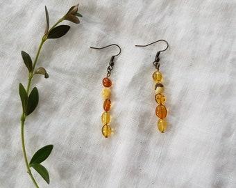 earrings - amber