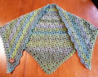 Striped Fan Shawl with Button