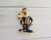 Vintage Black enamel Circus Clown Brooch in a black hat with a white bag on the stick, Costume jewelry for women for birthday any occasion