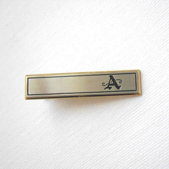 Vintage 1940s Gold Tone Hancock Initials  EJ  Mens Tie Clip Tie Clasp Gift Wedding Jewelry Gift for Him