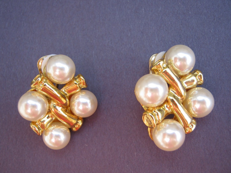 Vintage earrings Large Twisted Knot gold tone faux pearls Clip on earrings vintage costume jewelry gift for women gift for her gift for mom