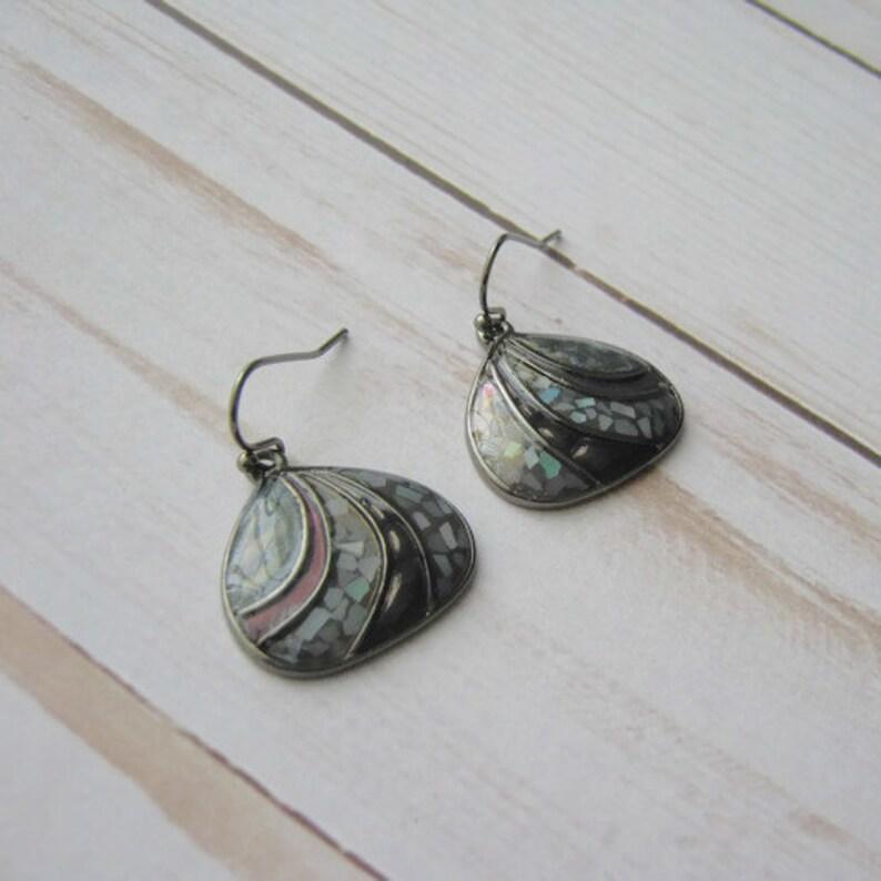 Vintage Seaside Purple Abalone Hematite Hoop Earrings in soft triangle shape Blue green purple earrings vintage costume jewelry for women