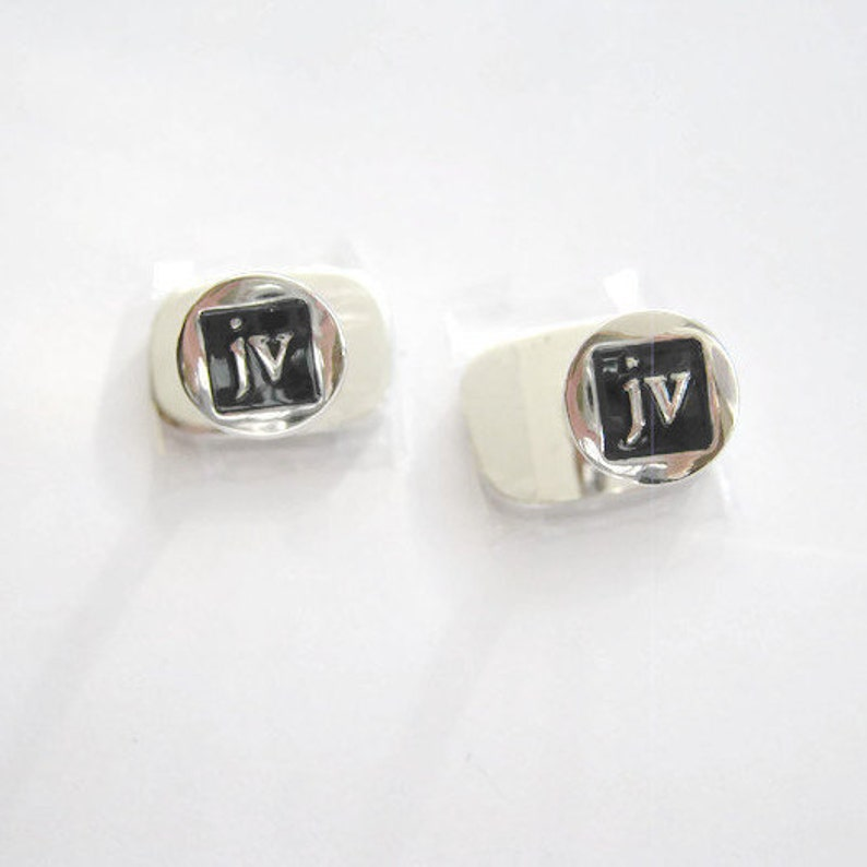 JV Cufflinks Vintage costume Jewelry gift for men boyfriend husband father brother Rectangle Silver Tone Black enamel Cufflinks Signed JV