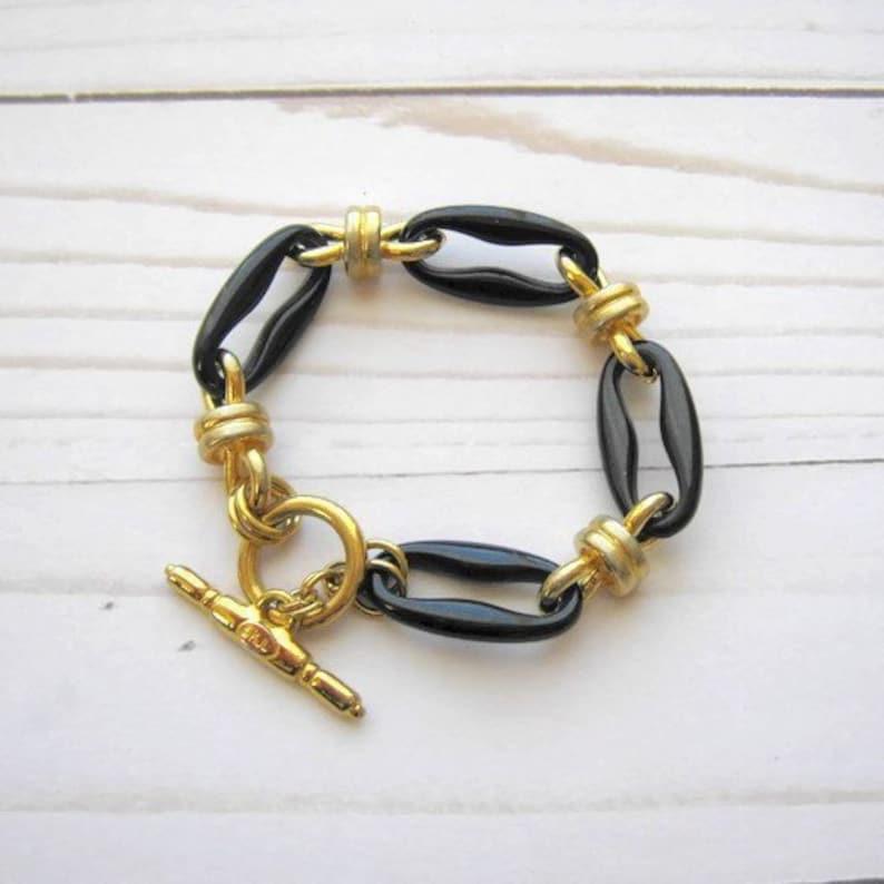 KJL bracelet Dark blue lucite and gold tone links bracelet signed KJL Vintage costume designer jewelry for women Kenneth Jay Lane bracelet