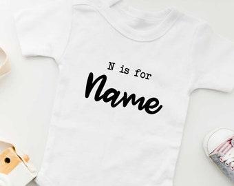 N is for Name - Custom Name Baby Onesie | Gender Neutral Baby Bodysuit