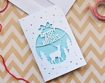 Christmas Cutout Card Digital Cut SVG File, paper cut template, christmas paper art, winter theme, xmas cut file, card making, pdf png