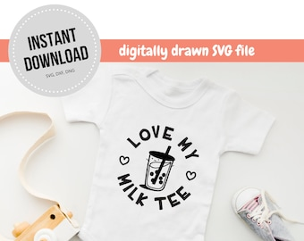 Bubble Tea Food Pun Vector Graphic | Newborn Girl Boy Onesie, Nursery Vector Silhouette, Cricut Digital Instant Download