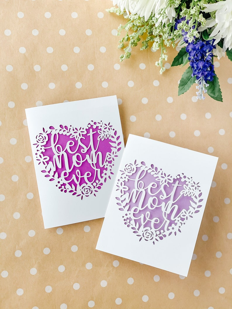 Best Mom Ever Paper Cut Greeting Card  Mother's Day image 0