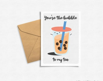Handlettering Food Pun, Funny Bubble Tea Greeting Card, Digital Download, Printable, Valentine's Day
