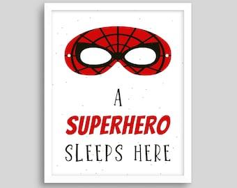 SUPER HERO SLEEPS HERE PILLOW CASE pilllowcase PILLOW slip brand new red