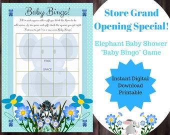 Baby Bingo Blue Elephant Game, Baby Bingo, Elephant Baby Shower