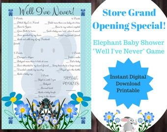 Never Have I Ever Baby Shower Game - Blue Boy Elephant Baby Shower Game - Printable