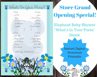 What's In Your Purse Baby Shower Game - Blue Elephant Baby Shower Game - Boy elephant Baby Shower Game - Printable