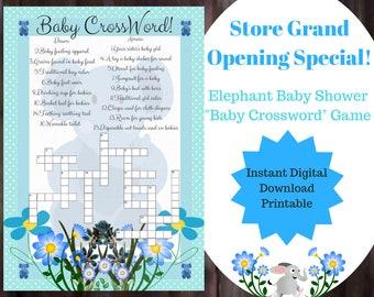 Elephant Blue Baby Shower Crossword Game - Printable Digital Download - Cross Word Game