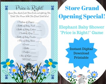 Price is Right Baby Shower Games, Elephant Baby Shower Games, Instant Digital Downlaod