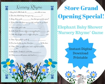 Nursery Rhyme Baby Shower Game - Blue Elephant Nursery Rhyme Game - Boy Nursery Rhyme Game - Printable