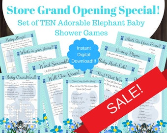 Elephant Baby Shower Games Boy in Blue - Set of 10 Adorable Baby Shower Games - Boy Elephant Baby Shower Games - Blue Elephant Baby Shower