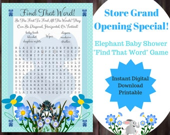Word Search Baby Shower Game Blue Elephant Themed, Blue Boy Elephant Baby Shower Game