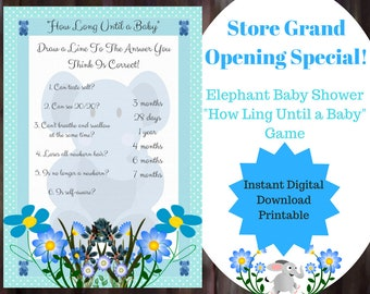 How Long Until Baby - Baby Shower Game - Blue Elephant Baby Shower Game - Boy Elephant Baby Game