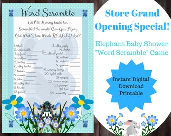 Word Scramble Baby Shower Game - Blue Elephant Baby Shower Game - Elephant Baby Shower Boy Game - Printable