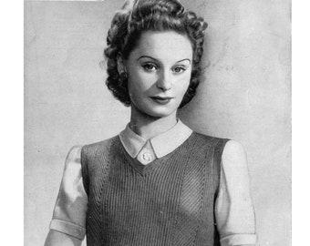 1940s Vintage Knitting Pattern Ribbed Jerkin Pullover Sweater Vest Bestway no.863 5 oz 3 ply Yarn WW2 Service Pattern
