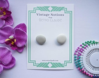 Set of 2 Faux Leather White Round Covered Buttons Vintage Buttons Fabric Shank Buttons Recycled Buttons Sewing Knitting Vintage Notion