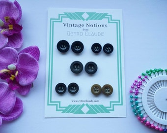 5 Sets of 2 Vintage Plastic Braces Buttons in Various Shades of Brown and Olive Green Vintage Sewing Vintage Notions