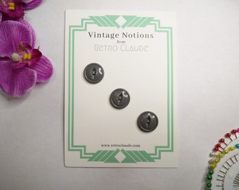Set of 3 Grey Plastic Fish Eye Buttons Vintage Buttons Reclaimed Buttons Recycled Buttons Vintage Sewing Knitting Vintage Notions
