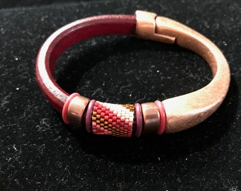 beaded leather and copper bracelet